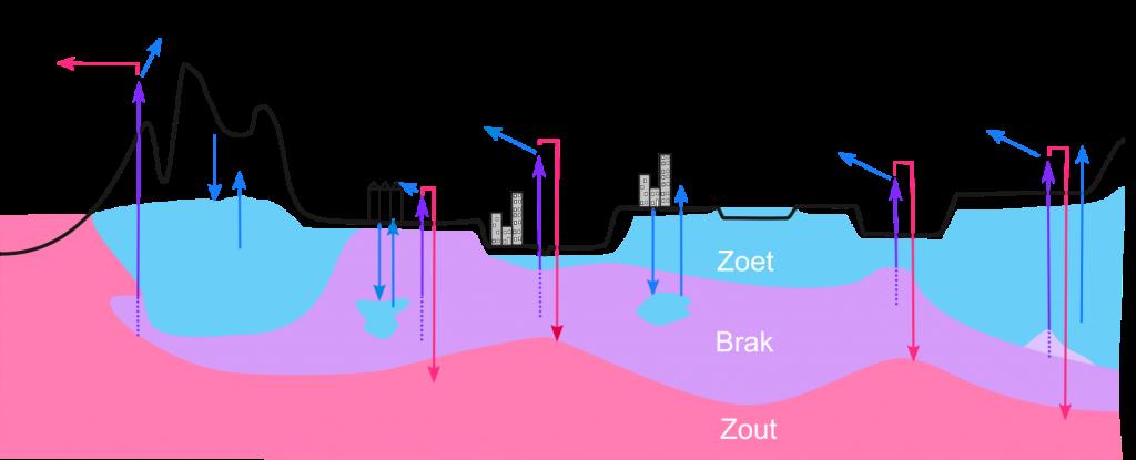 Schematisch overzicht van uiteenlopende COASTAR-concepten voor laag-Nederland. In alle gevallen staat een robuuste zoetwatervoorziening centraal door een grootschalige, georganiseerde inzet van de ondergrond voor opslag en levering van zoetwater.