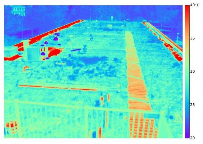 Thermisch beeld van het blauwgroen daksysteem waarop het grote temperatuurverschil tussen de vegetatie en dakranden (bitumen) is te zien: ruim 20 graden.