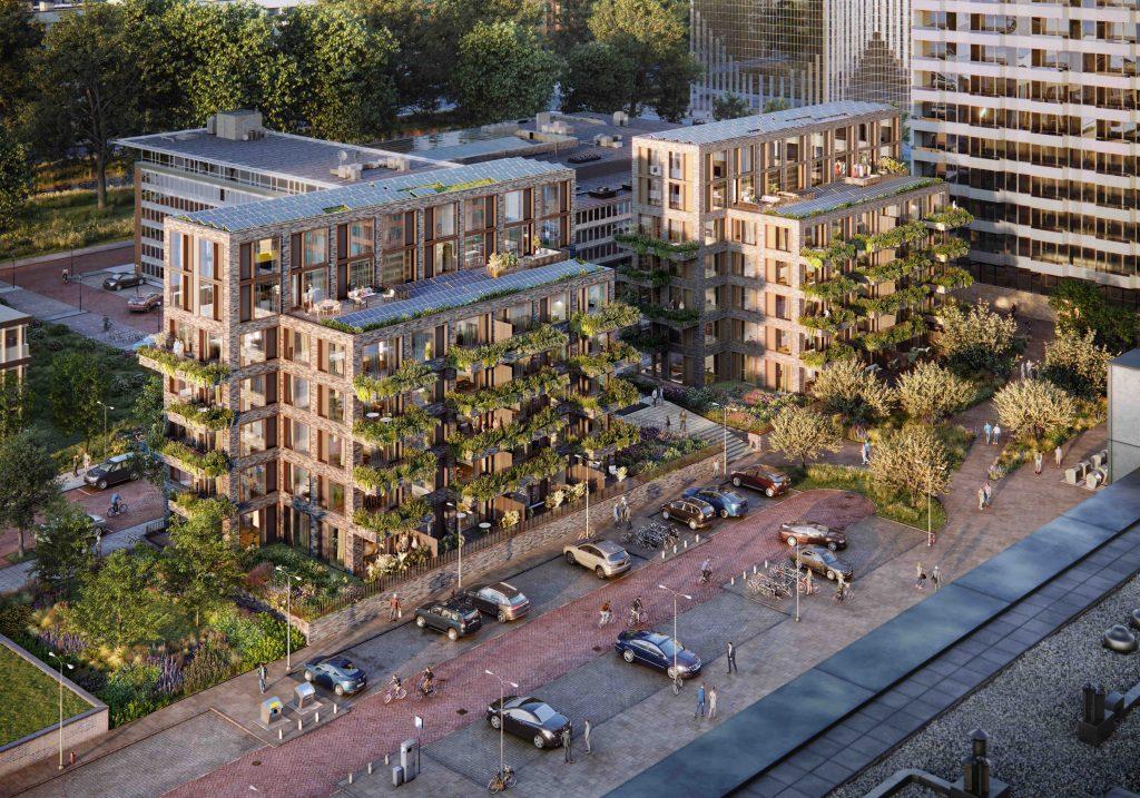 Artist impression van het Mannoury project in Amsterdam. Deze appartementencomplexen zijn de testlocatie van het Urban Photosynthesis-project (bron: Aedes)